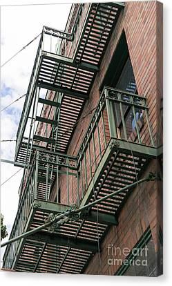Fire Escape Canvas Print - Klamath Falls Oregon Antonios Place Dsc5079 by Wingsdomain Art and Photography