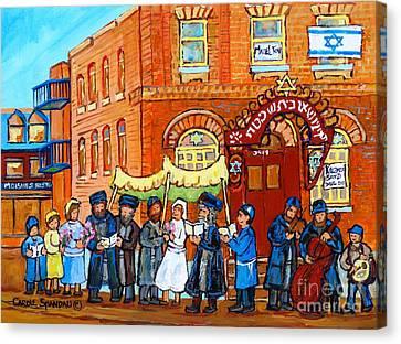Klezmer Band Jewish Wedding Musicians Live Performance Bagg Synagogue Montreal Carole Spandau        Canvas Print by Carole Spandau