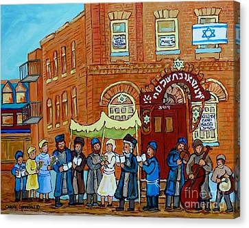 Klezmer Band Street Musicians Under The Chupa Wedding Bagg Street Jewish Art Carole Spandau          Canvas Print by Carole Spandau