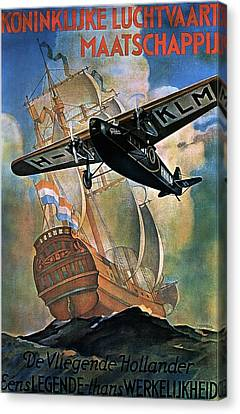 Klm Canvas Print - Klm - Royal Dutch Airlines Aircraft Flying Over A Sailing Ship - Vintage Advertising Poster by Studio Grafiikka