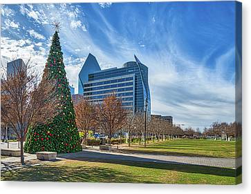 Dallas Canvas Print - Klyde Warren Park At Christmas by Tod and Cynthia Grubbs