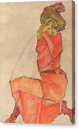 Expressionist Canvas Print - Kneeling Female In Orange-red Dress by Egon Schiele