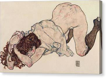 Expressionism Canvas Print - Kneeling Girl, Resting On Both Elbows by Egon Schiele