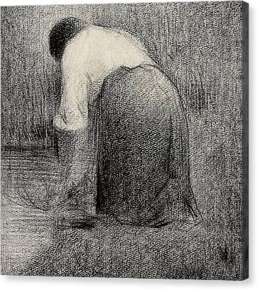 White Shirt Canvas Print - Kneeling Woman by Georges Pierre Seurat