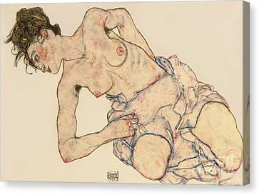 Female Canvas Print - Kneider Weiblicher Halbakt by Egon Schiele