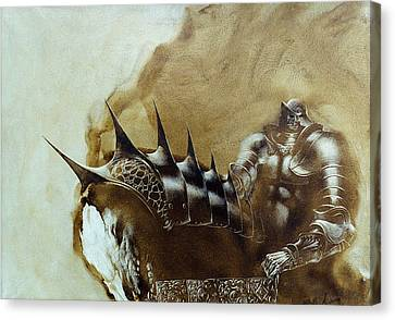Canvas Print featuring the painting Knight 1 by Valeriy Mavlo