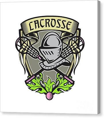 Knight Armor Lacrosse Stick Crest Woodcut Canvas Print by Aloysius Patrimonio