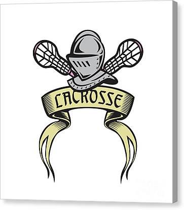 Knight Armor Lacrosse Stick Woodcut Canvas Print by Aloysius Patrimonio