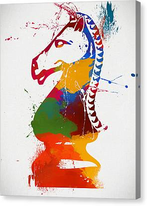 Knight Chess Piece Paint Splatter Canvas Print