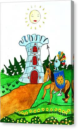 Brave Knight-errant And His Funny Wise Horse Canvas Print