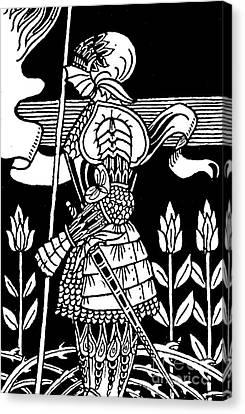 Arthurian Legend Canvas Print - Knight Of Arthur, Preparing To Go Into Battle by Aubrey Beardsley