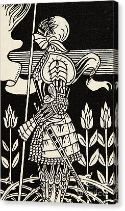 Armor Canvas Print - Knight Of Arthur, Preparing To Go Into Battle, Illustration From Le Morte D'arthur By Thomas Malory by Aubrey Beardsley