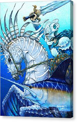 Canvas Print featuring the digital art Knight Of Swords by Stanley Morrison