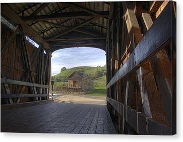 Knights Ferry Covered Bridge Canvas Print by Jim and Emily Bush