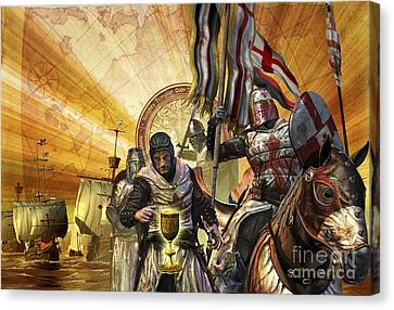 Knights Templar Are On A Mission Canvas Print by Kurt Miller