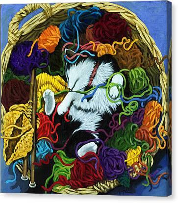 Knitter's Helper - Cat Painting Canvas Print