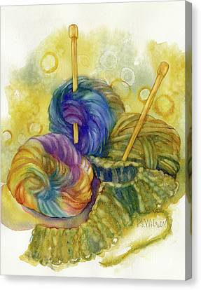 Knitting Canvas Print - Knitting by Peggy Wilson
