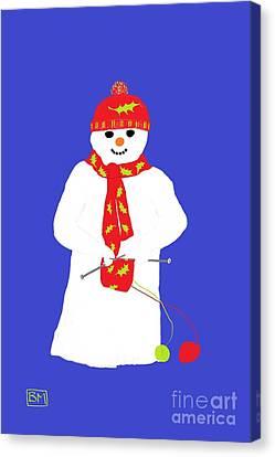 Knitting Snowman Canvas Print by Barbara Moignard