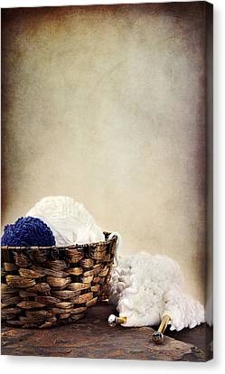 Knitting Supplies Canvas Print by Stephanie Frey