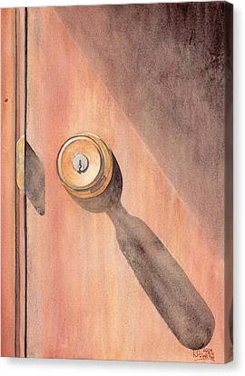 Knob And Shadow Canvas Print by Ken Powers
