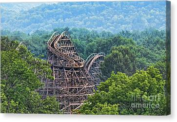 Knobels Wooden Roller Coaster  Canvas Print by Paul Ward