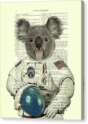 Koala In Space Illustration Canvas Print by Madame Memento