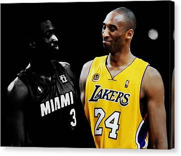 Kobe Bryant And Dwyane Wade 2 Canvas Print by Brian Reaves