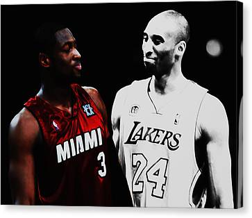 Two Masters Of The Game Kobe Bryant And Dwyane Wade Canvas Print by Brian Reaves