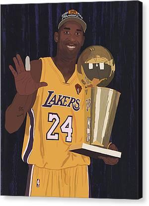 Kobe Bryant Five Championships Canvas Print by Tomas Raul Calvo Sanchez