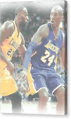 Kobe Bryant Lebron James 2 Canvas Print by Joe Hamilton