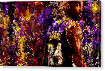 Bryant Canvas Print - Kobe Bryant Looking Back Signed Prints Available At Laartwork.com Coupon Code Kodak by Leon Jimenez