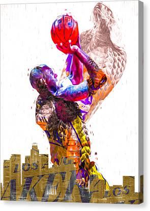 Kobe Bryant Los Angeles Lakers Digital Painting Snake 1 Canvas Print by David Haskett
