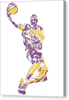 Cities Canvas Print - Kobe Bryant Los Angeles Lakers Pixel Art 24 by Joe Hamilton
