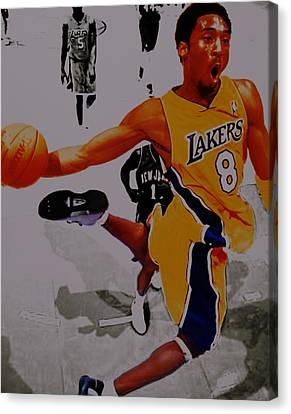 Kobe Bryant Taking Flight 3a Canvas Print by Brian Reaves