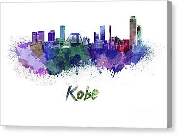 Kobe Skyline In Watercolor Canvas Print by Pablo Romero