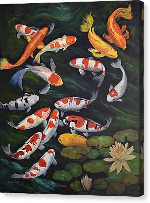Koi Among The Lily Pads II Canvas Print by Sandra Nardone