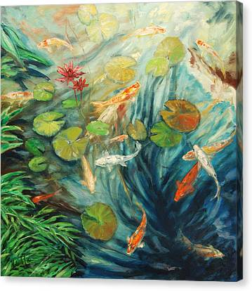 Koi And Palm Canvas Print