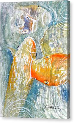 Canvas Print featuring the painting Koi Carp Feeding Frenzy by Bill Holkham