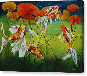 Koi Dance Canvas Print by Karen Dukes
