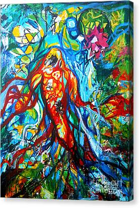 Turquoise Stained Glass Canvas Print - Koi Fish Mermaid by Genevieve Esson