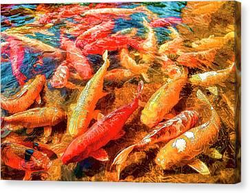 Koi Fish Pond Canvas Print by Lena  Owens OLena Art