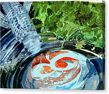 Koi Garden Canvas Print by Mindy Newman