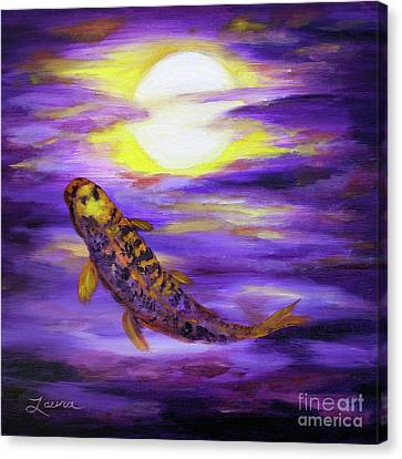 Koi In Purple Twilight Canvas Print by Laura Iverson
