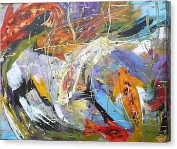Koi In The Abstract Canvas Print by Yael Eylat-Tanaka