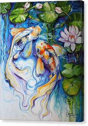 Koi Koi And Lily Canvas Print by Marcia Baldwin