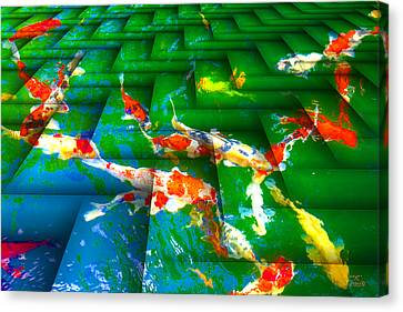 Canvas Print featuring the digital art Koi Mosaic I by Manny Lorenzo