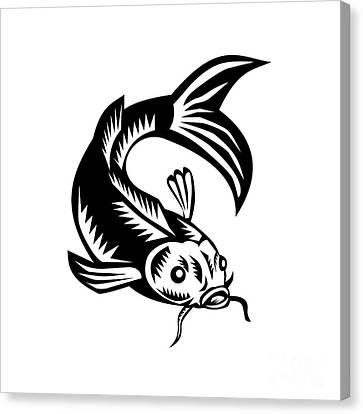 Koi Nishikigoi Carp Fish Woodcut Canvas Print by Aloysius Patrimonio