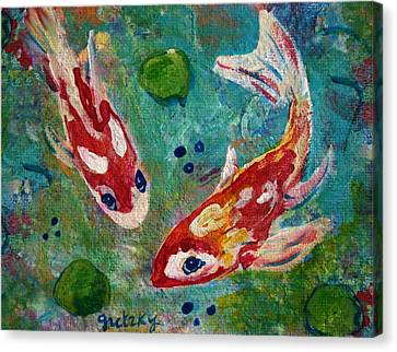 Koi Pond 2 Canvas Print by Paintings by Gretzky