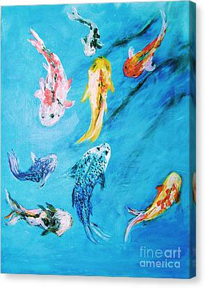 Canvas Print featuring the painting Swimming Koi Fish From The Water Series by Donna Dixon