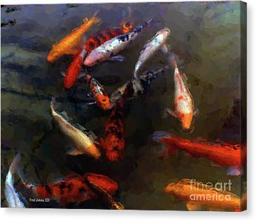 Koi Pond Watercolor Canvas Print by Fred Jinkins